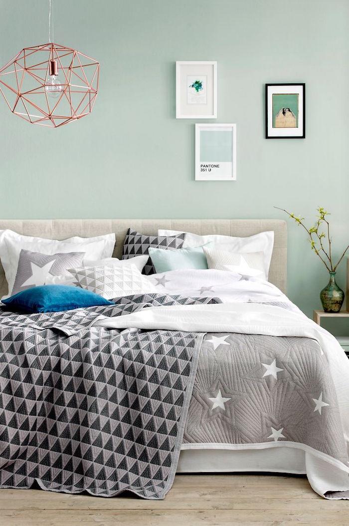chambre design minimaliste peinture murs menthe