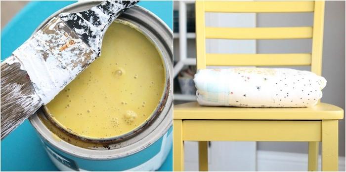 peinture pour couleur jaune pour relooker une chaise, idée comment relooker un meuble ancien