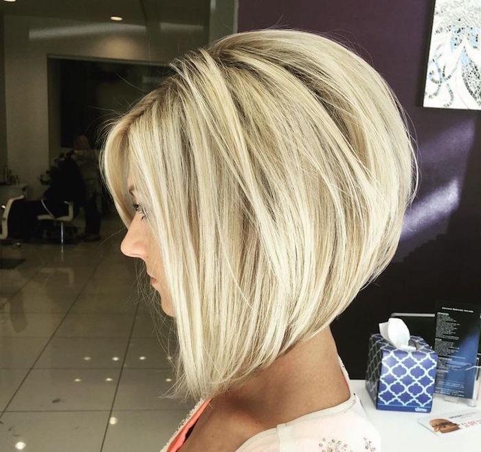 coupe cheveux carré plongeant blond avec volume
