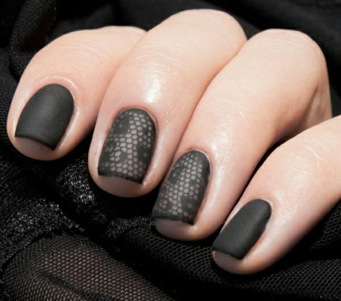 Formidable matte nails idée nial art noir faire pousser les ongles