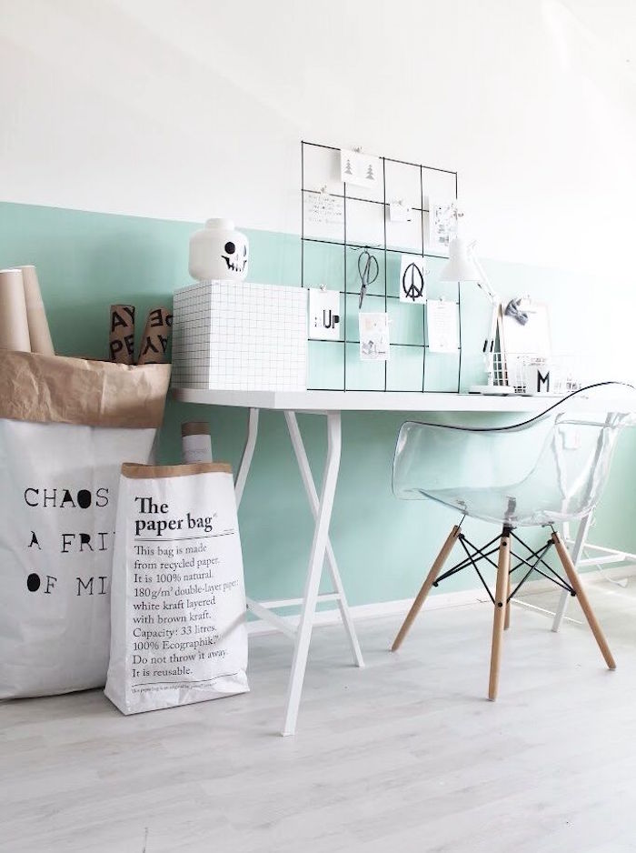 déco design scandinave blanc vert mur bicolore
