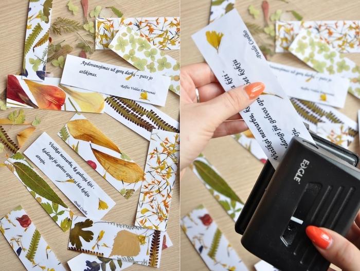 des marques-pages diy originaux décorés avec une composition florale de fleurs et feuilles séchées ainsi que des citations imprimées