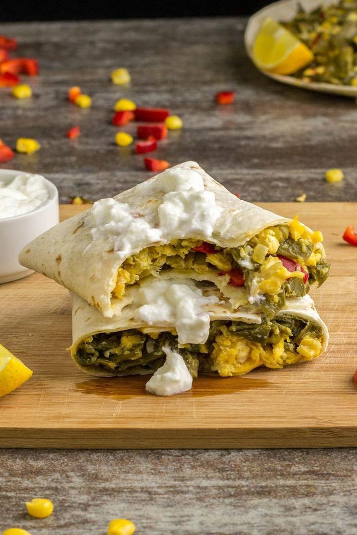 idée apéritif dinatoire à la mexicaine avec des mini-wraps végétariens aux oeufs mimosa et aux haricots verts