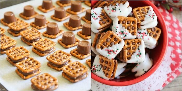 sables de noel en bretzel et bonbon avec nappage de chocolat blanc et billes sucrées colorées, dessert facile et rapide