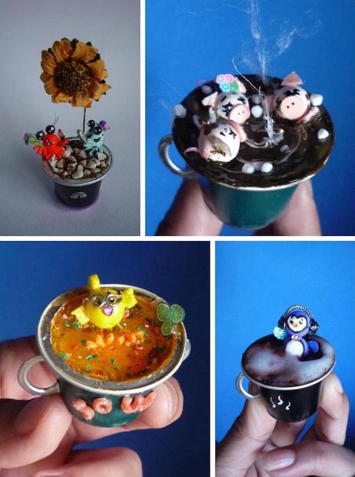 petite creation capsule nespresso petits objets deco miniatures dans caspules