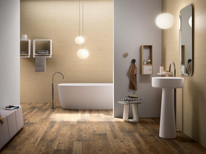 stratifié salle de bain, modèle de rangement salle de bain blanc, lampes suspendues jaune avec corde longue