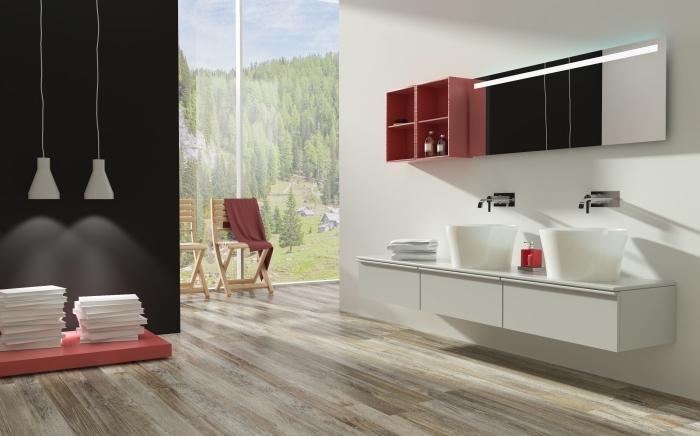 sol stratifié salle de bain, déco en rouge blanc et noir avec meubles de bain sans poignées et miroir rectangulaire