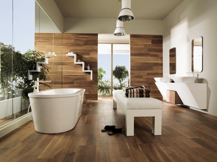 1001 mod les inspirants d 39 une salle de bain avec parquet for Revetement mural bois salle de bain