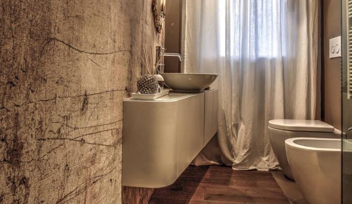 recouvrir carrelage sol, comment aménager petite salle de bain avec cabine de touche et meubles sans poignées