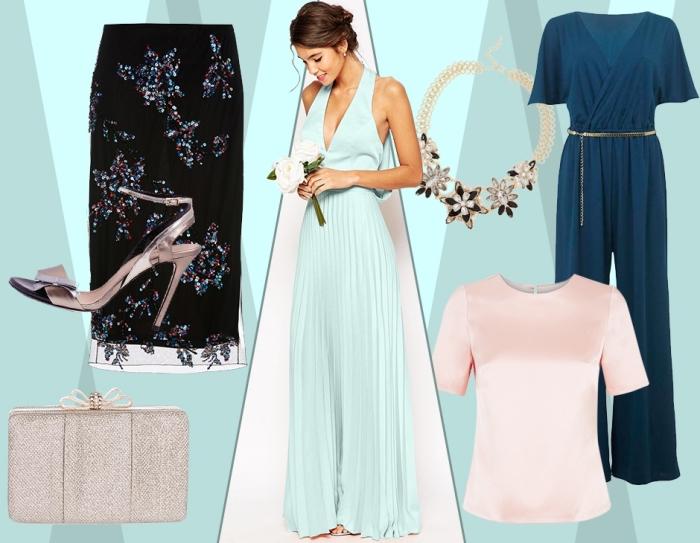 robe temoin de mariage, comment assortir ses vêtements pour mariage, jupe longue noire avec sandales beige et top rose pastel