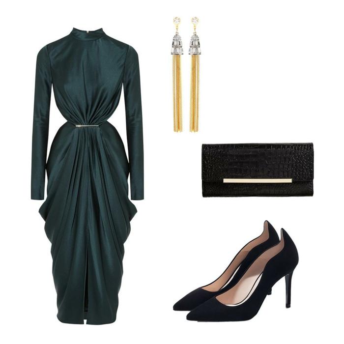 robe pour mariage en vert canard, avec des effets drapés sur les fesses, manches longues, col de type chinois, petite fente devant,broche longue en métal blanc sur la taille, pochette noire et escarpins noirs