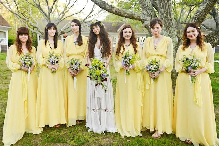 1001 id es robe demoiselle d 39 honneur boh me sur la for Robe jaune pour mariage