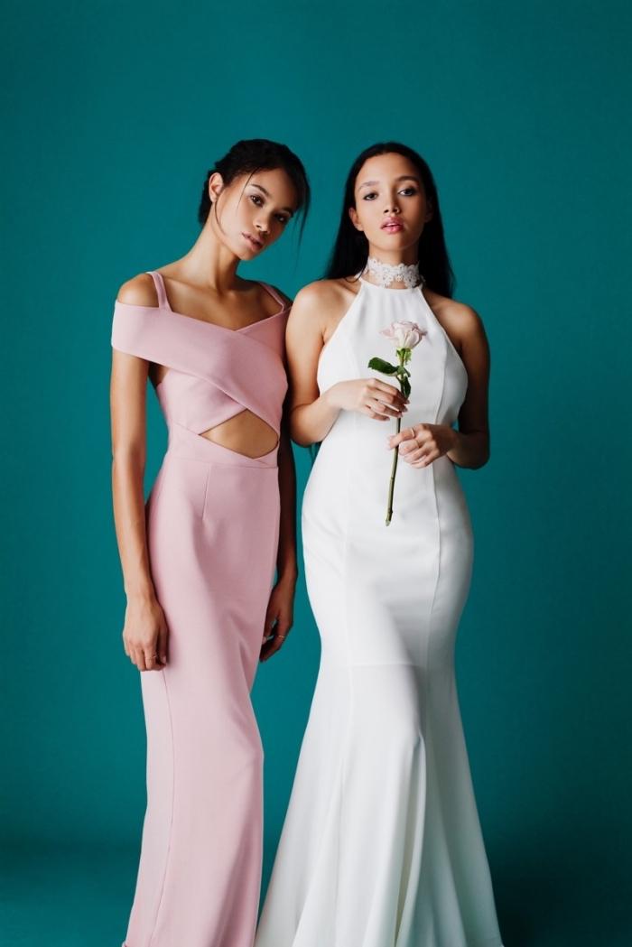 tenue robe de mariée blanche et robe d'invitée rose pastel, comment s'habiller en robe longue