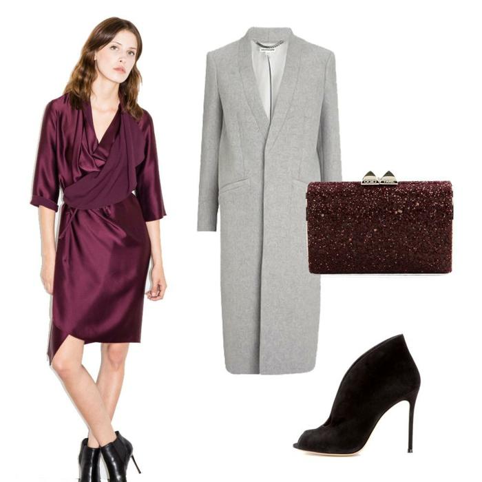 robe habillée pour mariage en bordeaux, tissu satiné, effet drapé devant, veste longue grise, pochette en strass marron, escarpin talon aiguilles noir Louboutin