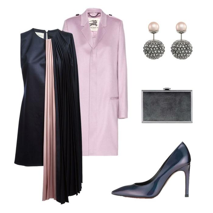 tenue de mariage femme en rose et noir, en satin, robe asymétrique devant, avec partie plissée, col rond, veste lila, escarpins noirs de style classique, pochette noire en métal, boucles d'oreilles rondes avec des pierres Swarovski blanches