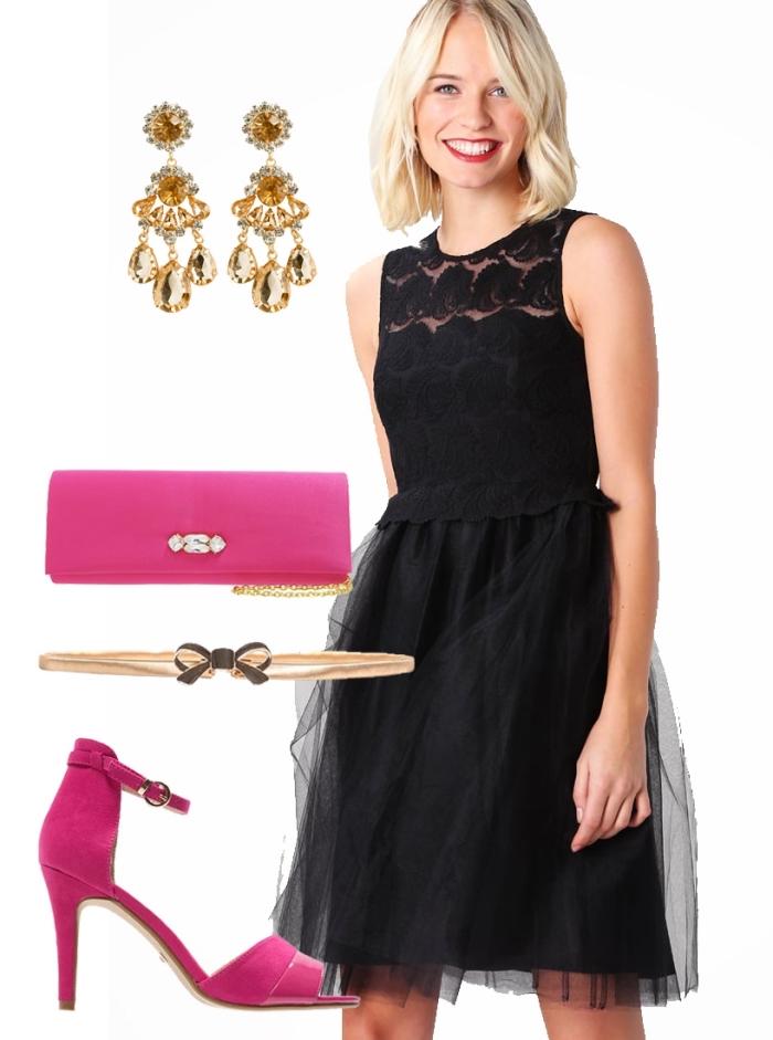 robe invitée mariage, comment assortir ses vêtements pour mariage, pochette et sandales en fuschia