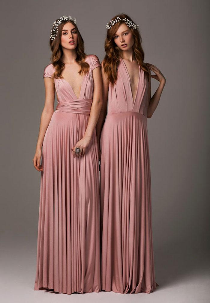 robe demoiselle d honneur rose pale longue