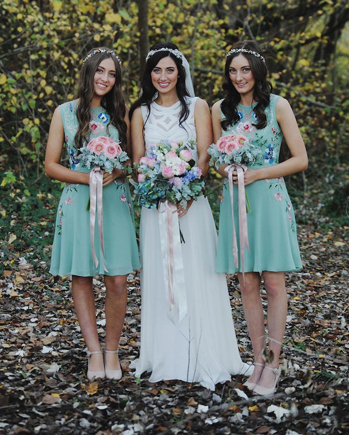 robe demoiselles d honneur courte boheme chic vert menthe