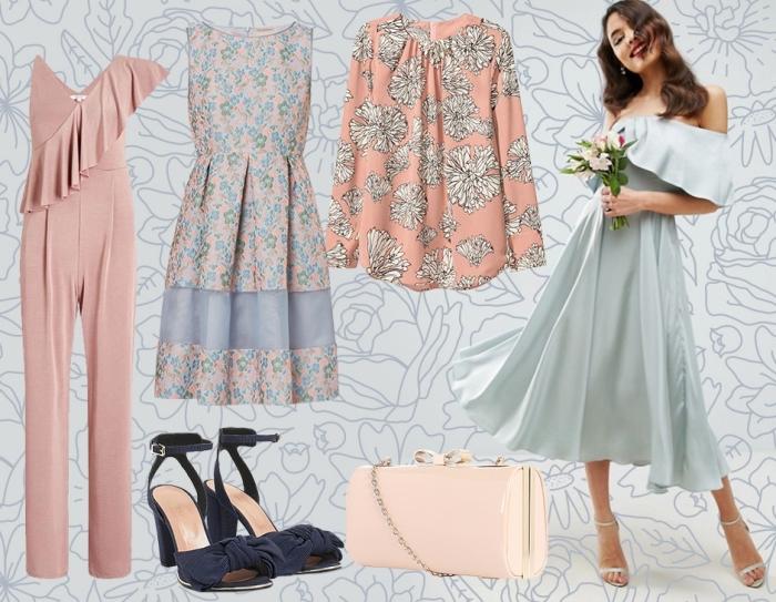 comment s habiller pour un mariage, modèle de vêtements à porter pour le jour j, modèle de combinaison avec bustier asymétrique en rose pâle