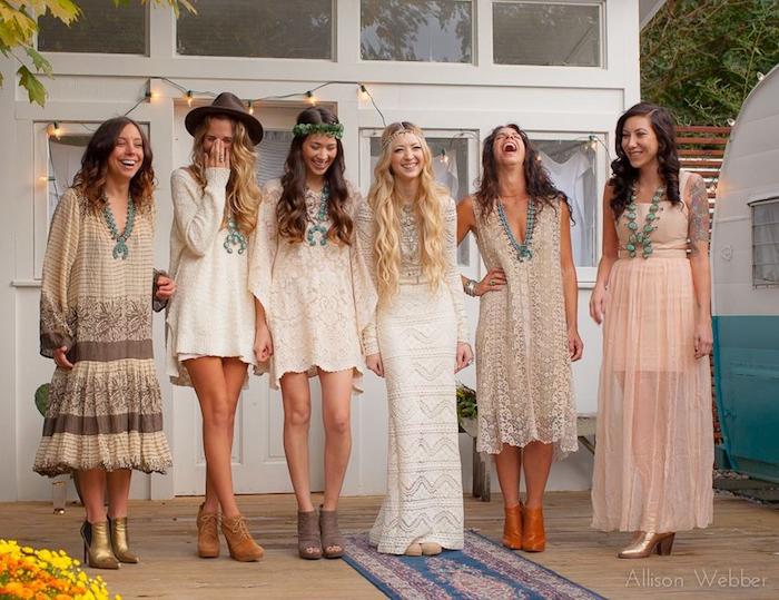vetement style bohème chic femme robe mariage demoise d honneur courte en dentelles