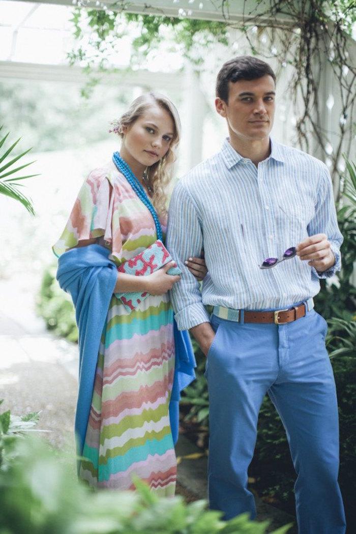costume mariage décontracté bleu et blanc été