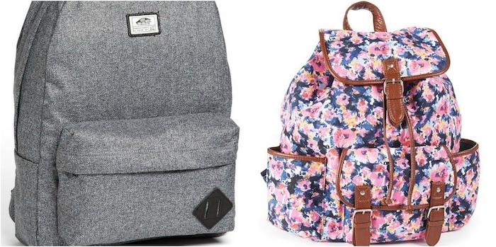 sac à dos garçon couleur grise et fille imprimé floral, modele cadeau noel pour ado, mode adolescente
