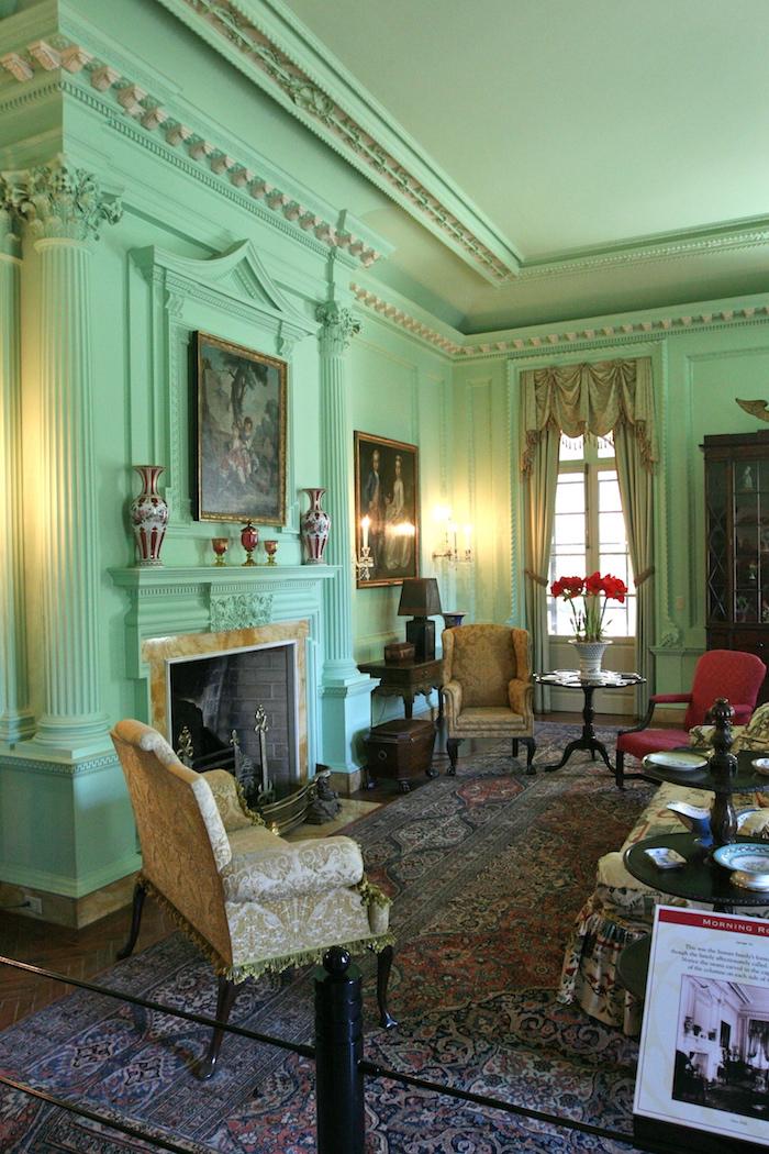 salon chateau couleur verte aménager salon vintage
