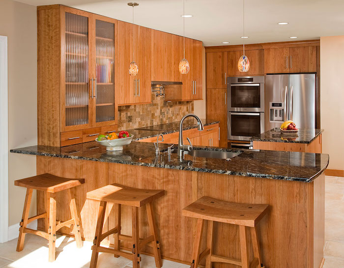 bar americain cuisine ouverte en bois style retro