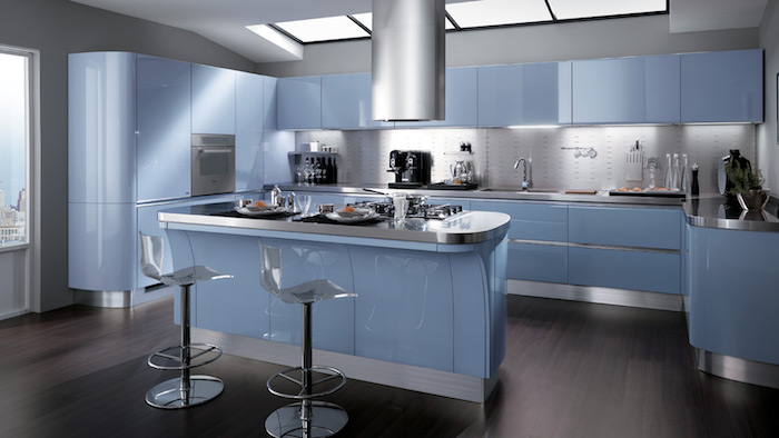 plan cuisine ouverte américaine bleu design