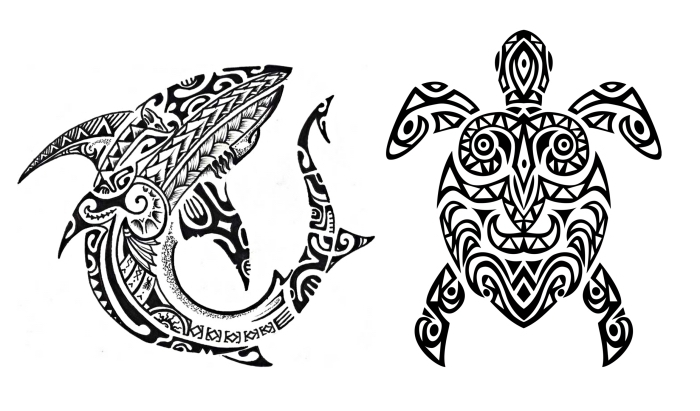 modele de tatouage, dessin en blanc et noir avec tortue et requin aux motifs tribal