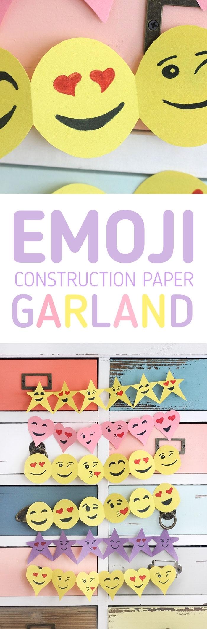 tutoriel pour réaliser une guirlande décorative à design emoji en papier, activité manuelle pour enfants