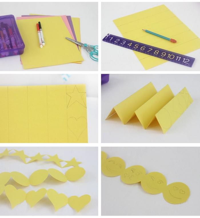 étapes à suivre pour plier et couper le papier jaune de façon à créer une guirlande décorative à design emoji