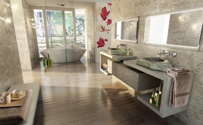 plancher salle de bain, déco salle de bain en beige et blanc avec meubles en gris, modèle de vasque en vert
