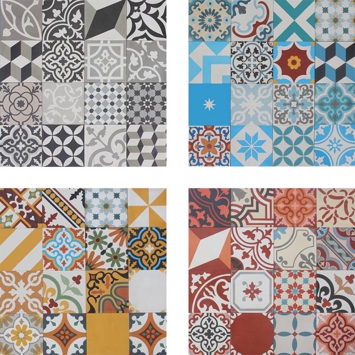 carreaux de ciment cuisine, modèle de carrelage à design végétal et géométrique de couleurs variées