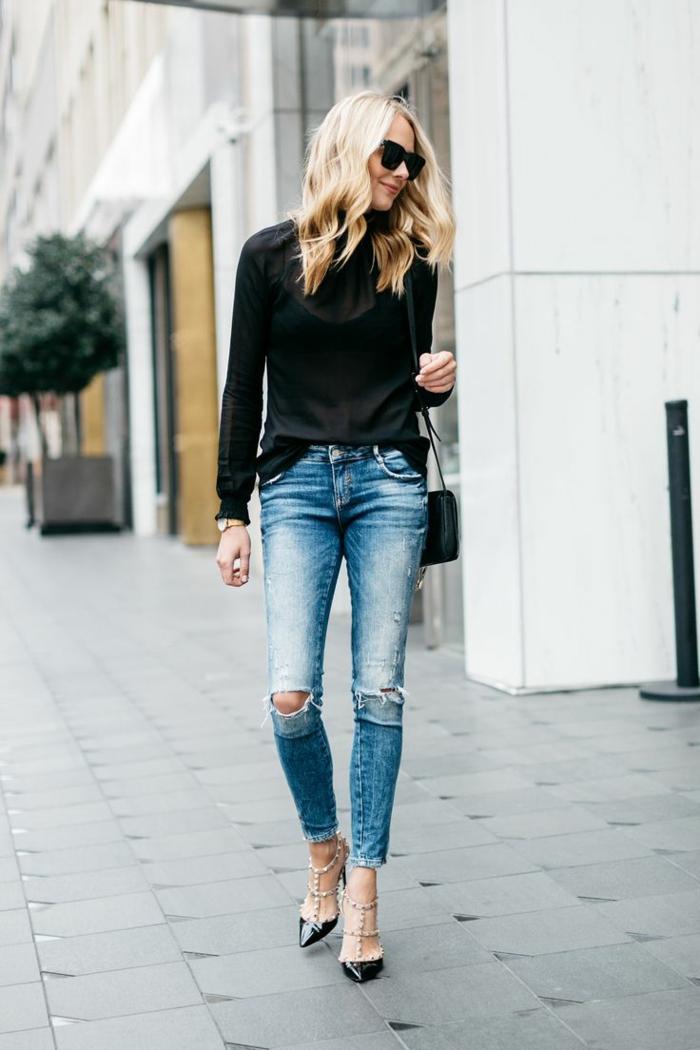 Tenu chic femme tenue cool et classe hiver tenue automne idée tendance jean déchirée