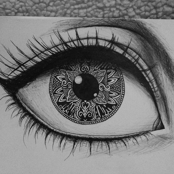 Dessiner un dessin femme noir et blanc photo en dessin simple à faire oeil mandala