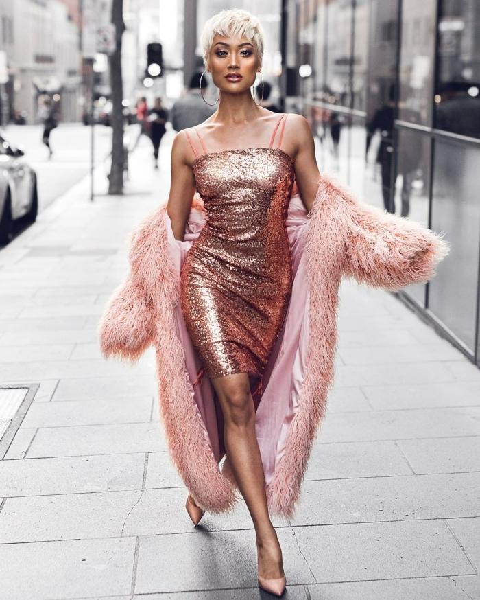 Magnifique robe sequin doré robe de soirée doré longue tendance new york style