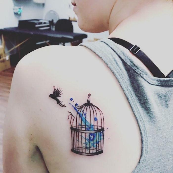 tatouage force symboles tatouages liberté cage oiseau
