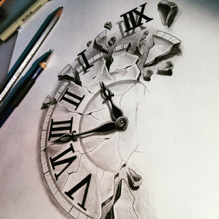 Un dessin crayon noir et blanc dessin horloge noir et blanc chouette