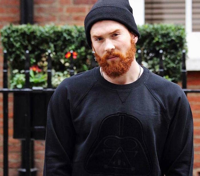 barbe rousse mi longue homme tendance