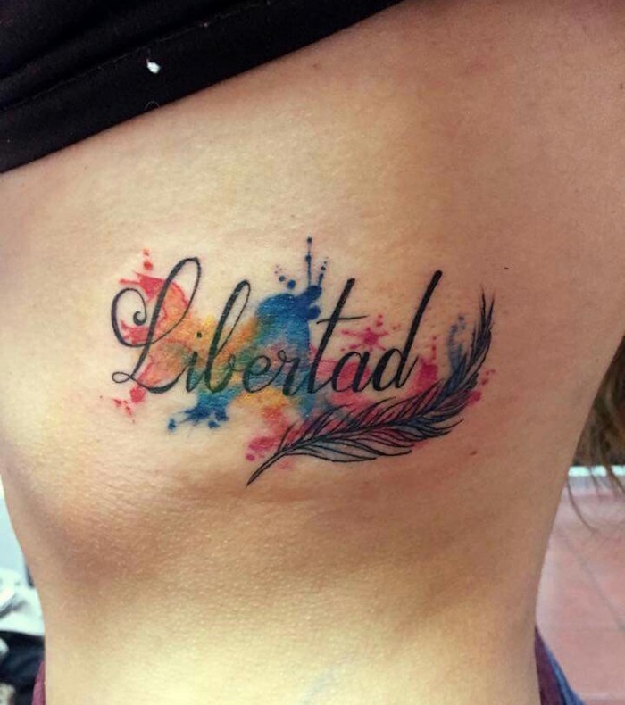 tatouage aquarelle écriture | tuer auf