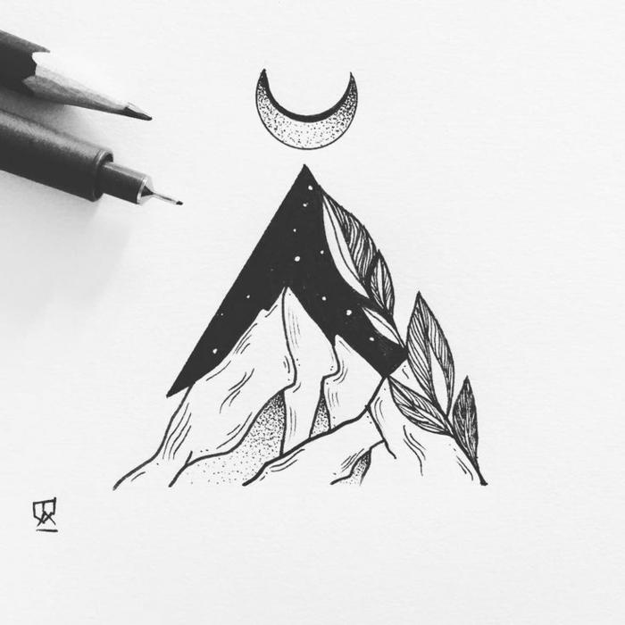 Quel dessin visage femme noir et blanc dessiner image de dessin cool montagne lune