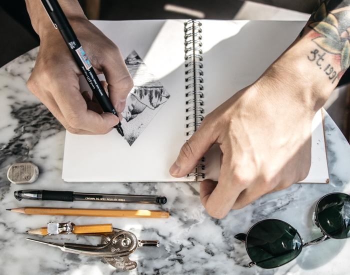 technique pour apprendre dessiner facilement dessin paysage noir et blanc dessin au crayon facile debutants