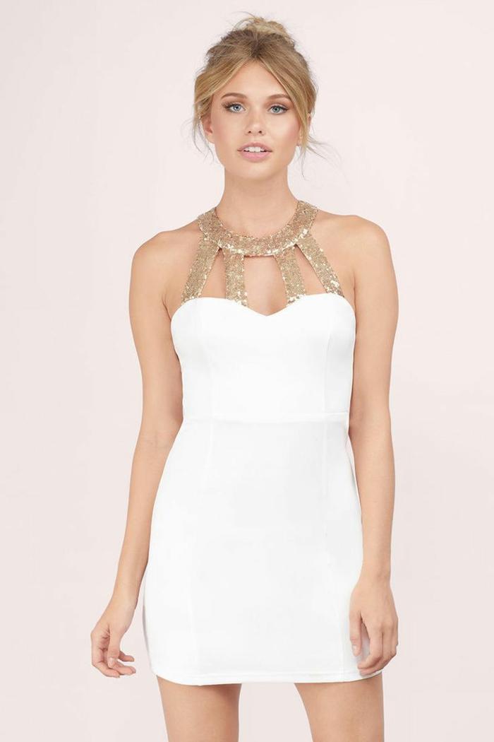 Superbe robe blanc et doré robe dorée courte image de robe doree et blanc