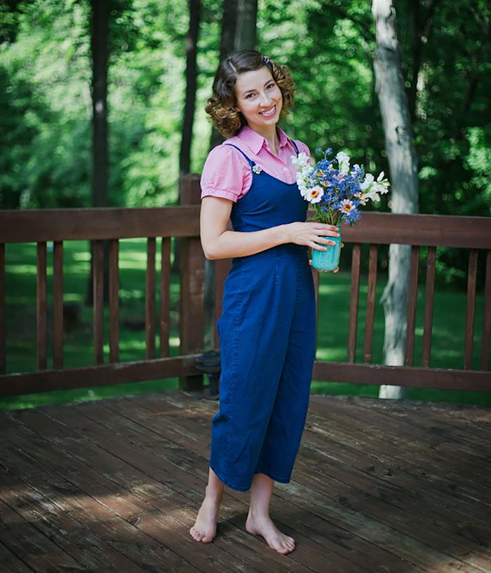 tenue de campagne pour femme style salopette vintage champetre