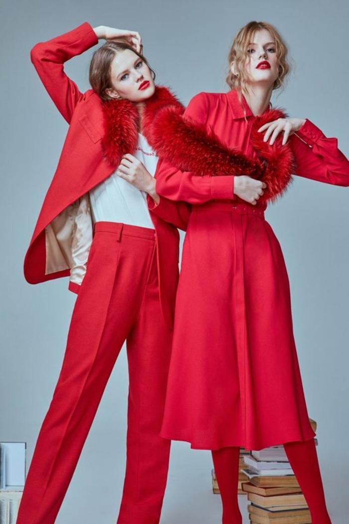 robe de cocktail pour mariage en rouge deux tenues veste et pantalon et robe longue avec jupe évasée, looks en rouge et blanc