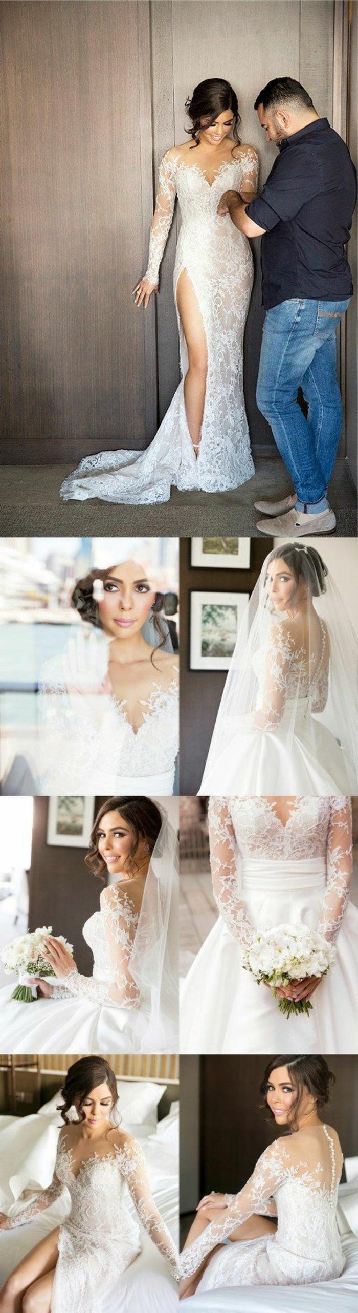 robe pour mariage en dentelle blanche, avec fente latérale profonde, voile blanc sur la coiffure de la mariée, des petits boutons blancs dans le dos, robe moulante, silhouette raffinée