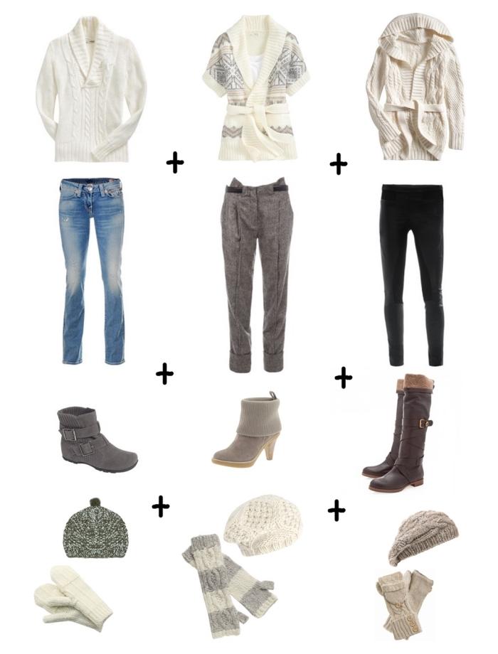 trouver son style vestimentaire, combinaisons vêtements d'hiver avec bottines pull over et pantalons femme