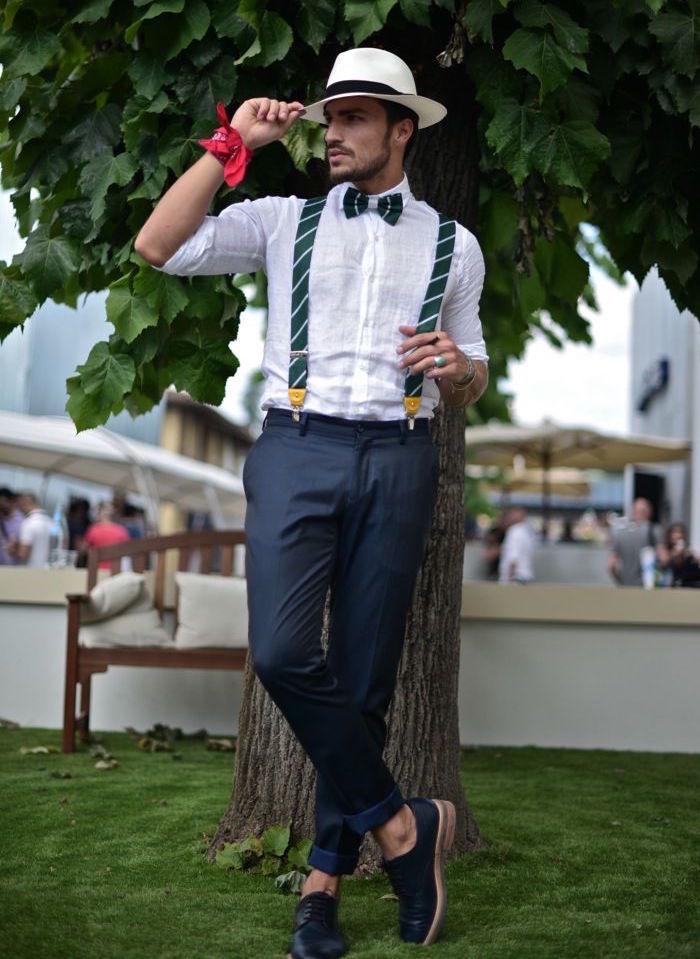hugo boss costume tenue mariage homme décontracté bleu blanc bretelles