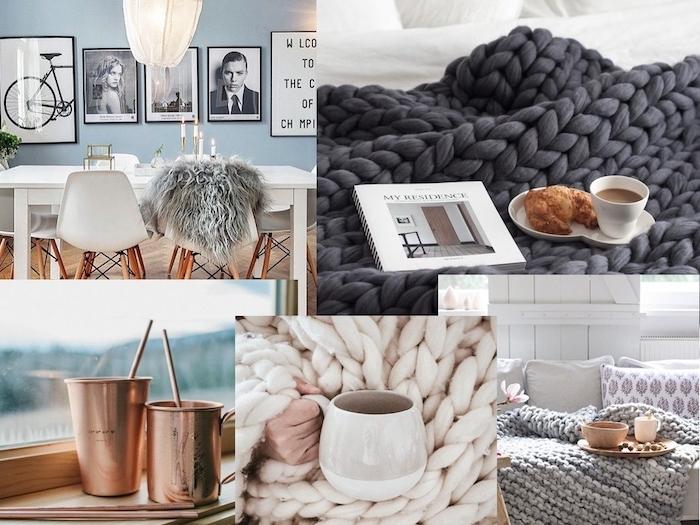 les éléments pour créer une deco d hiver cocooning, plaids grosses mailles, tasses de café, decoration en cuivre, jeté de fausse fourrure, mobilier scandinave